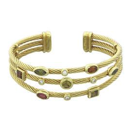 David Yurman Confetti 18K Yellow Gold Citrine Peridot Pink Tourmaline & Topaz 3 Row Bracelet