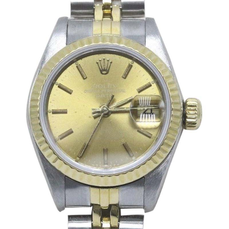 """Image of """"Rolex Date 69173 18K Yellow Gold & Stainless Steel Champagne Dial 26mm"""""""
