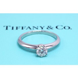 Tiffany & Co. Platinum with 0.40ct Round Brilliant Diamond Solitaire Engagement Ring Size 6
