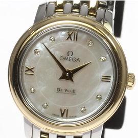 Omega DeVille Prestige 424.20.24.60.55.001 Stainless Steel / 18K Yellow Gold Quartz 24mm Womens Watch