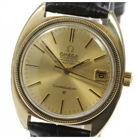 Omega Constellation Gold Plated Stainless Steel / Leather Automatic 35mm Mens Watch