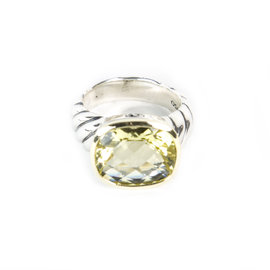 David Yurman 925 Sterling Silver & 18K Yellow Gold with Lemon Citrine Noblesse Ring Size 6.5