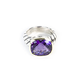 David Yurman 925 Sterling Silver & 18K Yellow Gold with Amethyst Noblesse Ring Size 6.5
