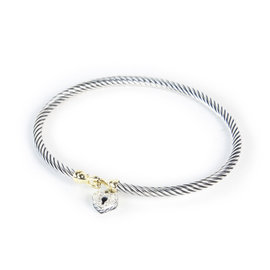 David Yurman 925 Sterling Silver & 18K Yellow Gold with 0.11ct. Diamond Cable Heart Lock Bracelet