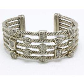 David Yurman 925 Sterling Silver with 0.62ct Diamond 5 Rows Confetti Cuff Bracelet