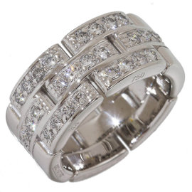 Cartier Mailon Panthere 18K White Gold with Diamond Ring Size 3