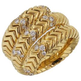Bulgari Tubogas 18K Yellow Gold with Diamond Ring Size 7.5