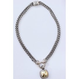 David Yurman Albion 18K Yellow Gold & 925 Sterling Silver with 0.50ct Diamond Dome Double Chain Pendant Necklace