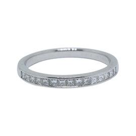 Tiffany & Co. Platinum 0.39ct Princess Cut Diamond Half Circle Band Ring Size 7.5