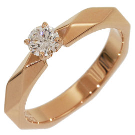 Boucheron Facette 18K Rose Gold with Solitaire Diamond Ring Size 4.25
