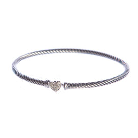 David Yurman 925 Sterling Silver & 0.09ct. Diamonds Cable Collectibles Heart Bracelet