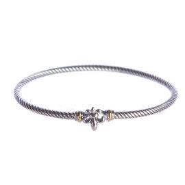 David Yurman Fleur-de-Lis 925 Sterling Silver & 18K Yellow Gold Bracelet