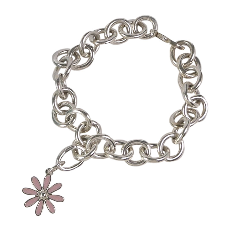 "Image of ""Tiffany & Co. 925 Sterling Silver and Pink Enamel Daisy Charm Bracelet"""