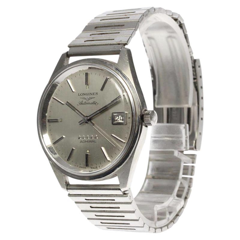 """Image of """"Longines Admiral Stainless Steel with Silver Dial Automatic 35mm Mens"""""""