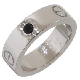 Cartier Love 18K White Gold with 1P Black Sapphire Ring Size 5.25