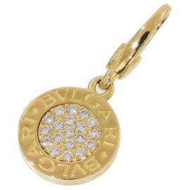 Bulgari 18K Yellow Gold with BB Pave Diamonds Charm Pendant