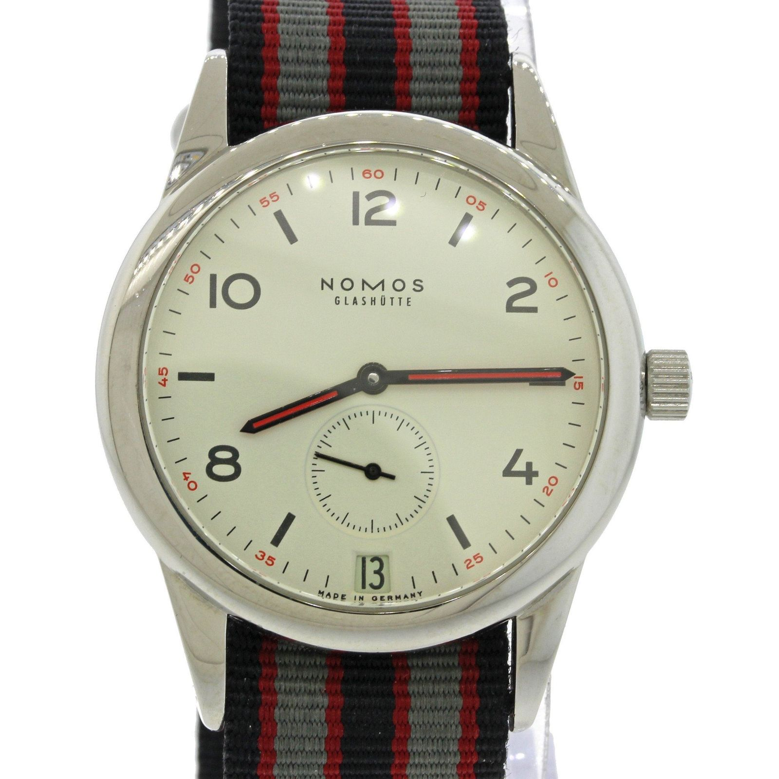 "Image of ""Nomos Glashutte Club Date 244 Stainless Steel Nato Strap Analog"""