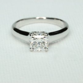 Tiffany & Co. 950 Platinum 0.76ct Lucida Cut Diamond Engagement Ring Size 4.25