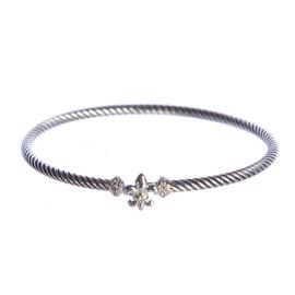 David Yurman Fleur-de-Lis 925 Sterling Silver & 0.06ct. Diamond Bracelet