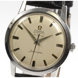 Omega Turler Double Name Seamaster Stainless Steel & Leather Automatic 34mm Mens Watch
