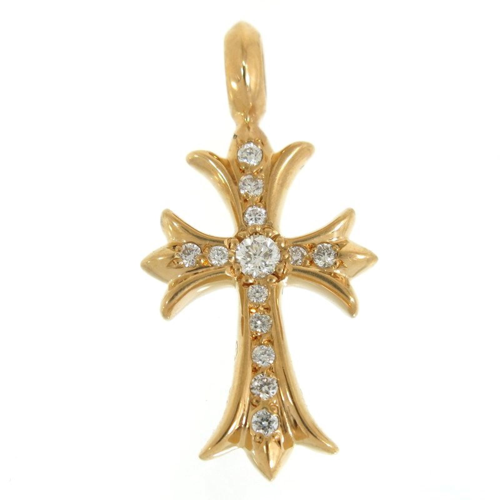 "Image of ""Chrome Hearts 22K Yellow Gold with Pave Diamond CH Cross Top Charm"""
