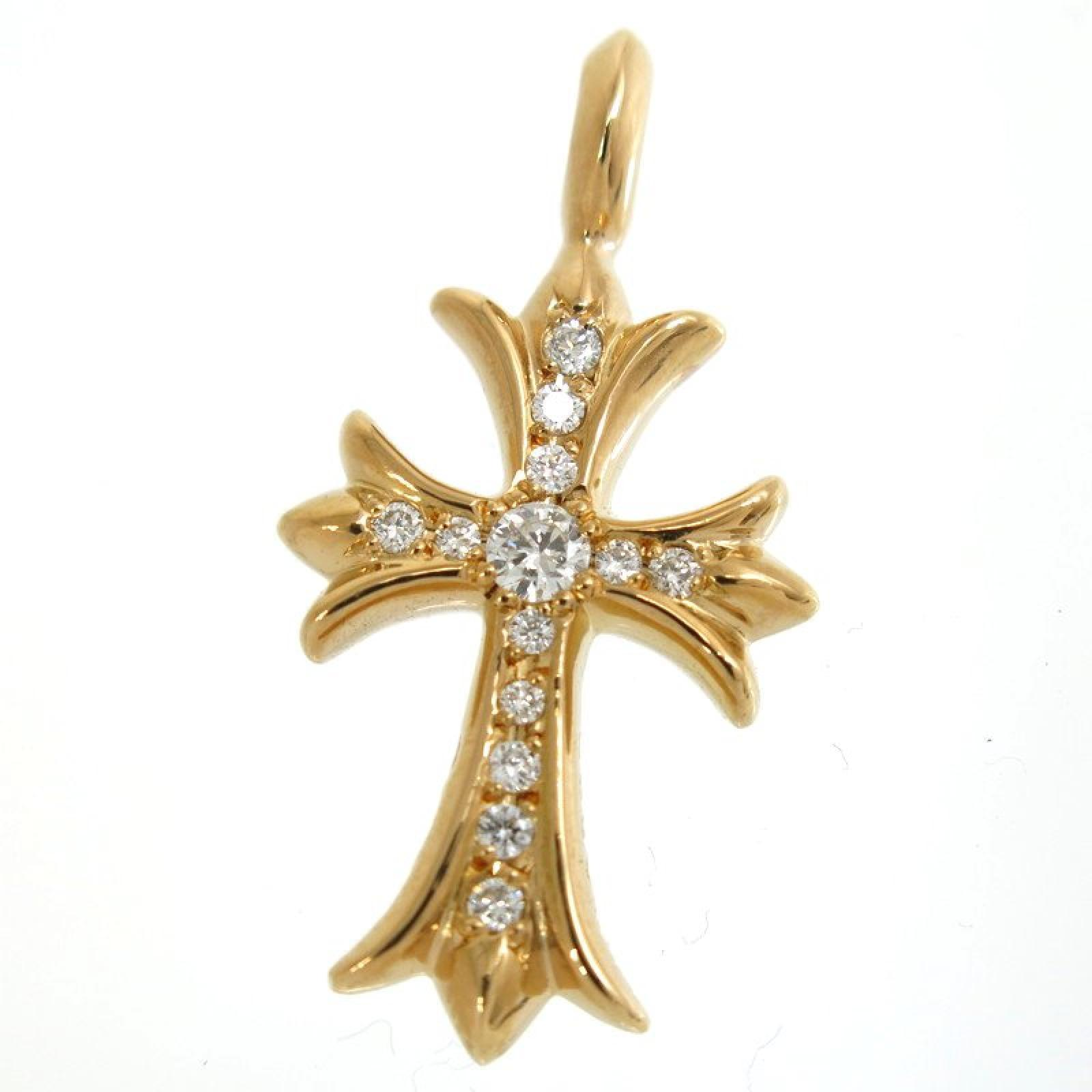 "Image of ""Chrome Hearts 22K Yellow Gold with Pave Diamond Tiny CH Cross Top"""