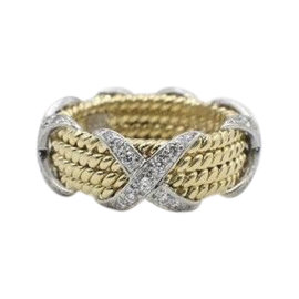 Tiffany & Co. Sclumberger 950 Platinum & 18K Yellow Gold with 0.54ct Diamond 4 Row Rope Band Ring Size 4.75