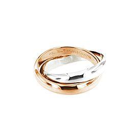 Tiffany & Co. 18K Rose & White Gold Ring Size 8
