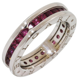 Bulgari B.Zero1 18K White Gold & Garnet 1Band Ring Size 5.5