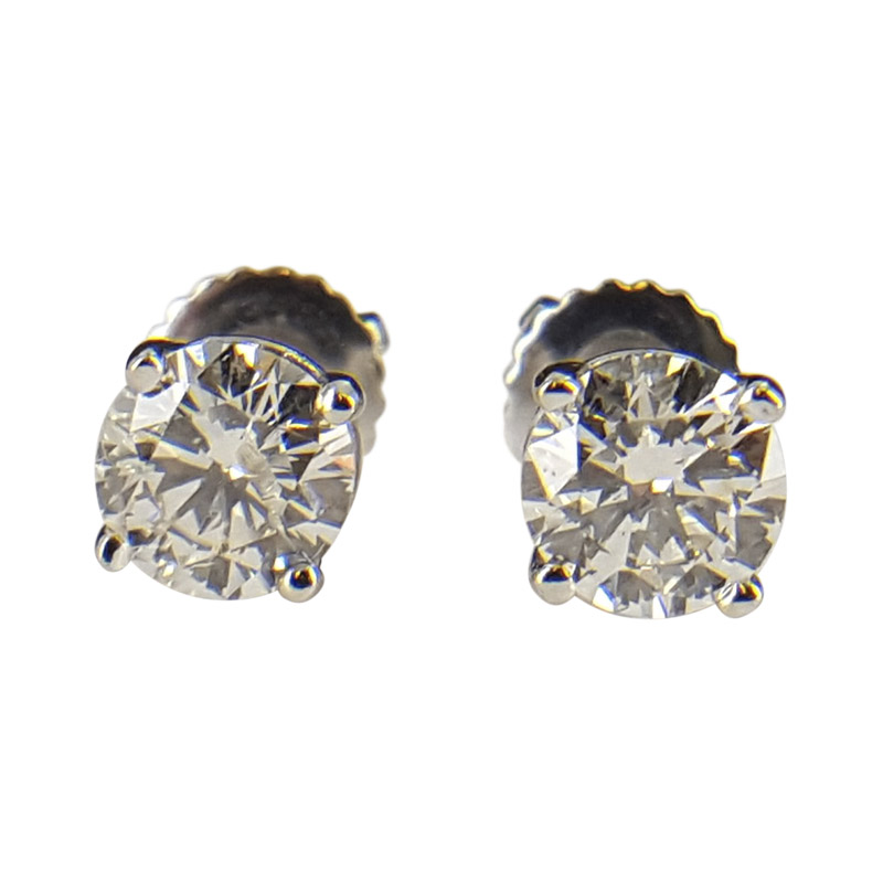 "Image of ""14K White Gold with .94 ct Round Diamond Earrings"""