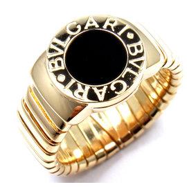 Bulgari 18K Yellow Gold Onyx Tubogas Ring Size 6.25