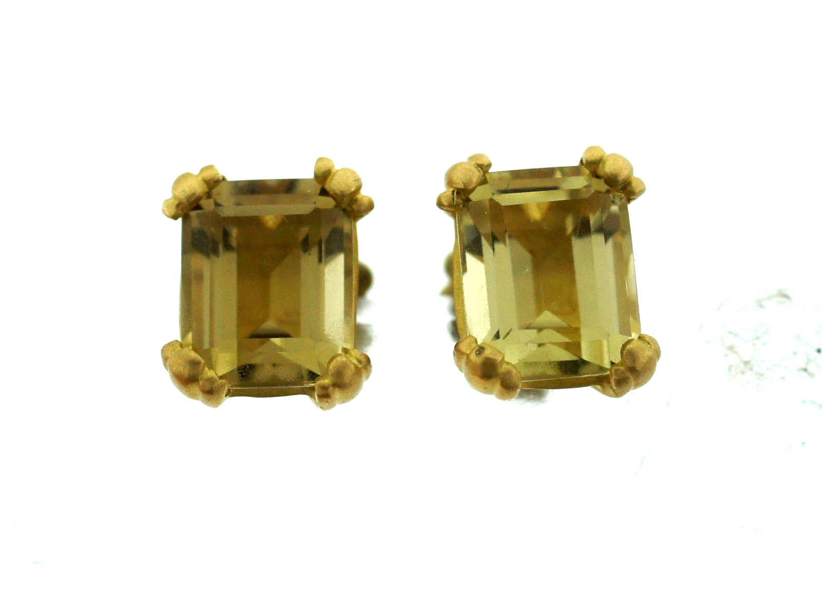 """""18K Yellow Gold Citrine Stud Earrings"""""" 65104"