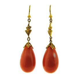 Cathy Waterman 22K Yellow Gold Mediterranean Coral & Diamond Earrings