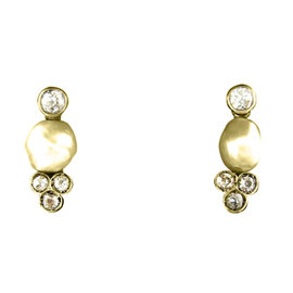 14K Yellow Gold, Silver, Natural Pearl & Diamond Earrings