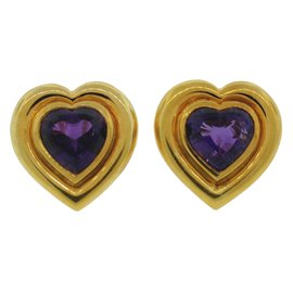 Tiffany & Co. Paloma Picasso 18K Yellow Gold Amethyst Heart Earrings