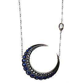 Platinum, Sapphire & Rose Cut Diamond Crescent Necklace