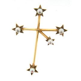 Mikimoto 18k Yellow Gold & Pearl Cross Brooch