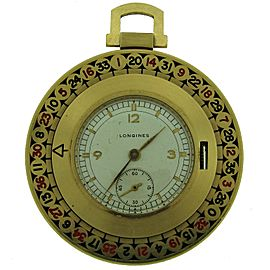 Vintage Longines Yellow Gold Enamel Roulette Pocket 1940S Watch