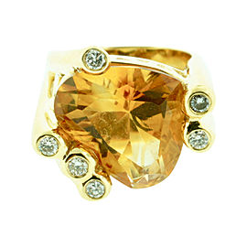 18K Yellow Gold Diamond & Citrine Heart Shaped Ring