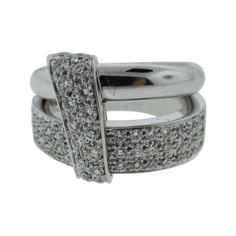 "Image of ""Asprey London 18K White Gold Wedding Band Engagement Diamond Ring"""