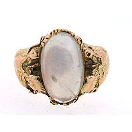 Art Nouveau 14K Yellow Gold Moonstone Dragon Ring