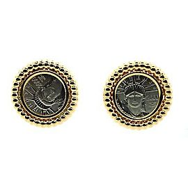 Platinum & 18K Yellow Gold Liberty Coin Earrings