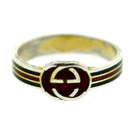 Gucci Sterling Silver Enamel Band Ring