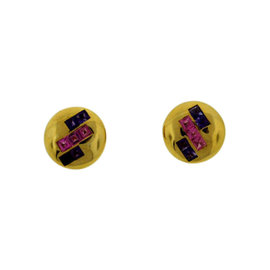 Bulgari 18K Yellow Gold Pink & Purple Amethyst Clip On Earrings