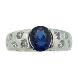 Chanel 18K White Gold Diamond Natural Sapphire Ring