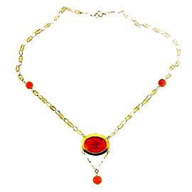 14K Yellow Gold & Carnelian Necklace