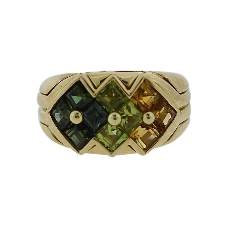 "Image of ""Bulgari 18K Yellow Gold Green Tourmaline, Peridot & Citrine Ring"""