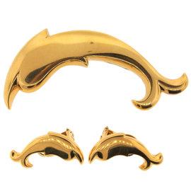 Pomellato 18K Yellow Gold Dolphin Pin & Earrings Set