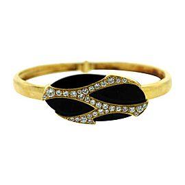 Cartier 18K Yellow Gold Diamond & Onyx Bangle Bracelet