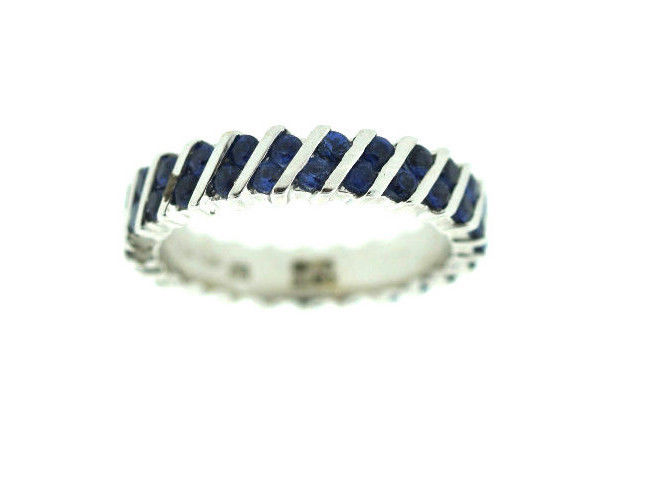 "Image of ""Asprey Made In Italy 18K 750 White Gold Sapphire Band Ring"""